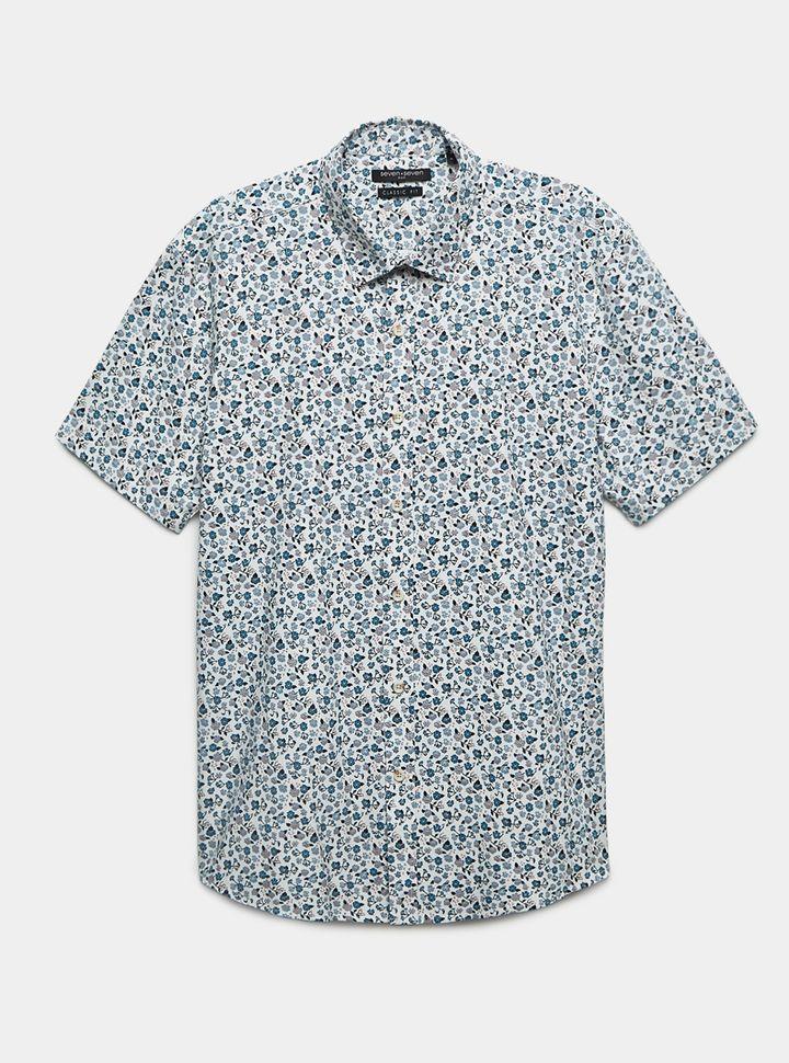 Camisa Regular Fit Mini Estampado Floral Beige Xl