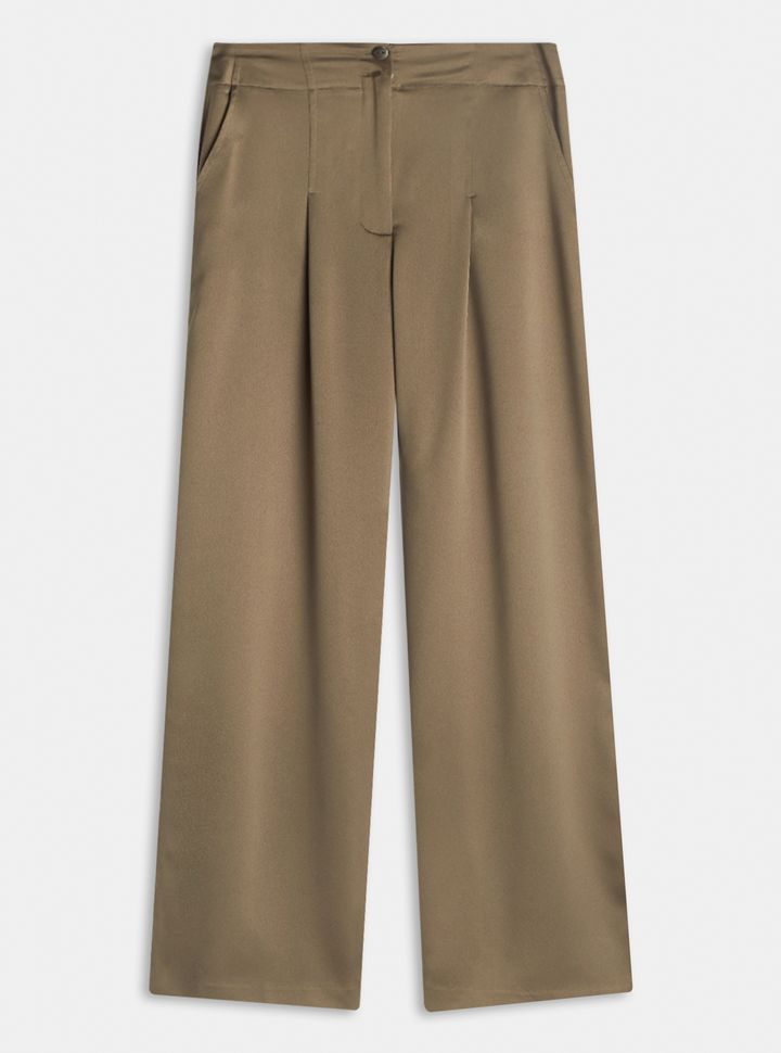 Pantalón Ancho Satinado Verde 10