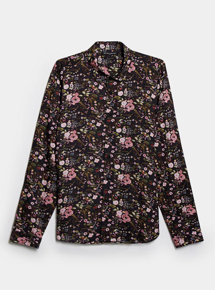 CAMISA MANGA LARGA FLORES Camisa Hombre Slim Fit Estampado Floral Xl