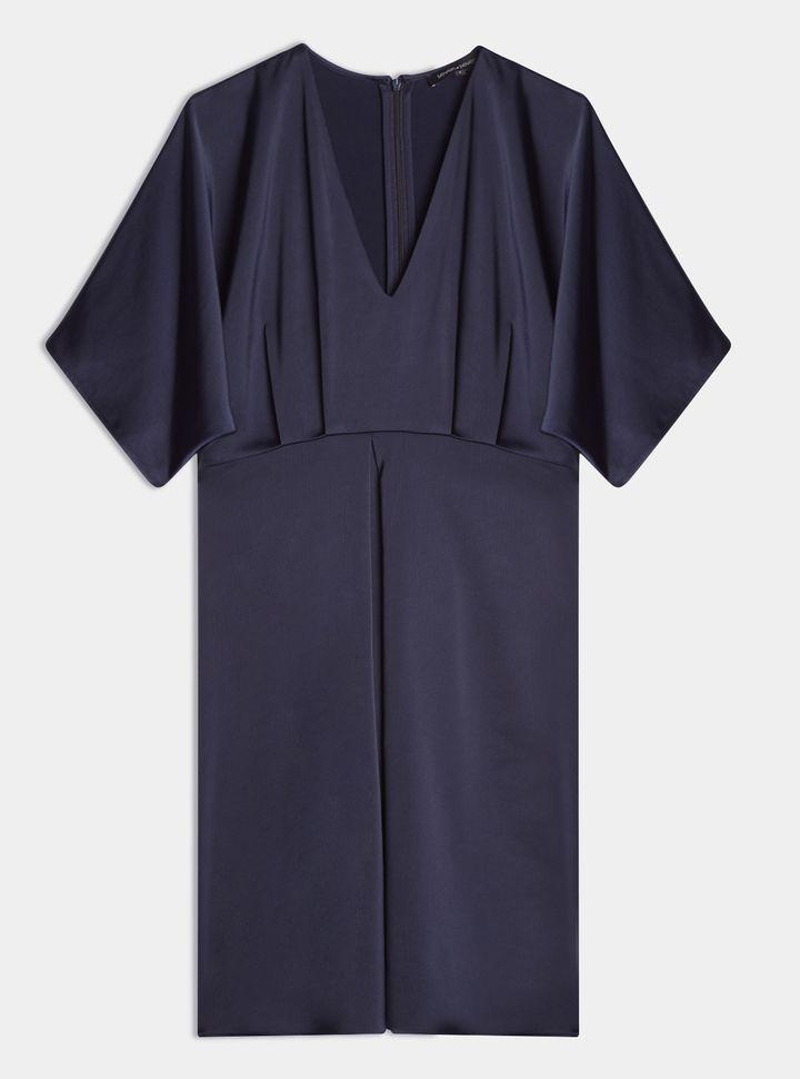 VESTIDO MANGA CORTA ESCOTE V Vestido Recogido Azul M