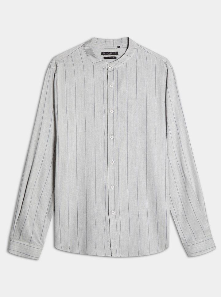 Camisa Rayas Delgadas Cuello Mao Gris L