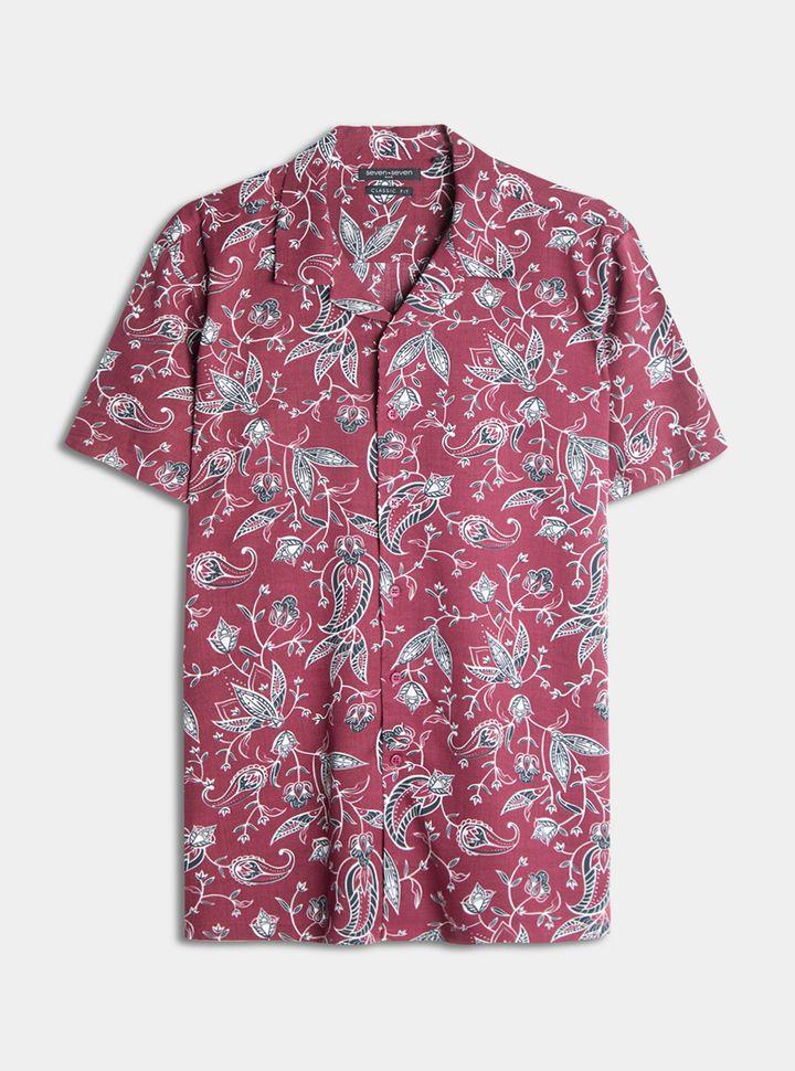 Camisa Hojas Abstractas Vino S