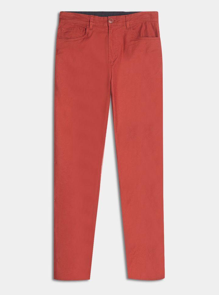 pantalón 5 bolsillos unicolor Pantalón Slim Unicolor Naranja 28
