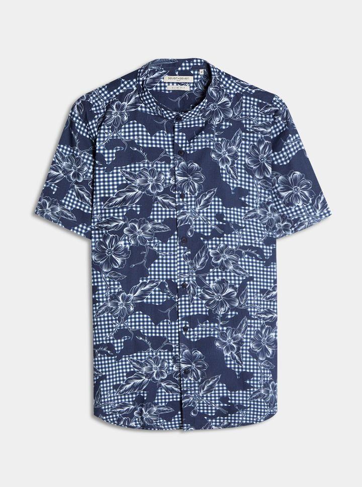Camisa Cuello Mao Flores Azul L