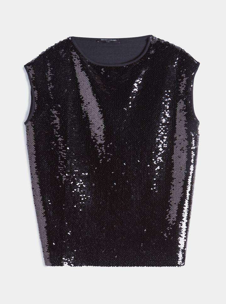 Camiseta Lentejuelas Unicolor Negro XS