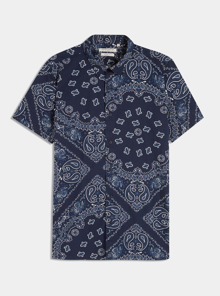 Camisa Slim Fit Con Estampado Pañoleta Color Azul, Talla S