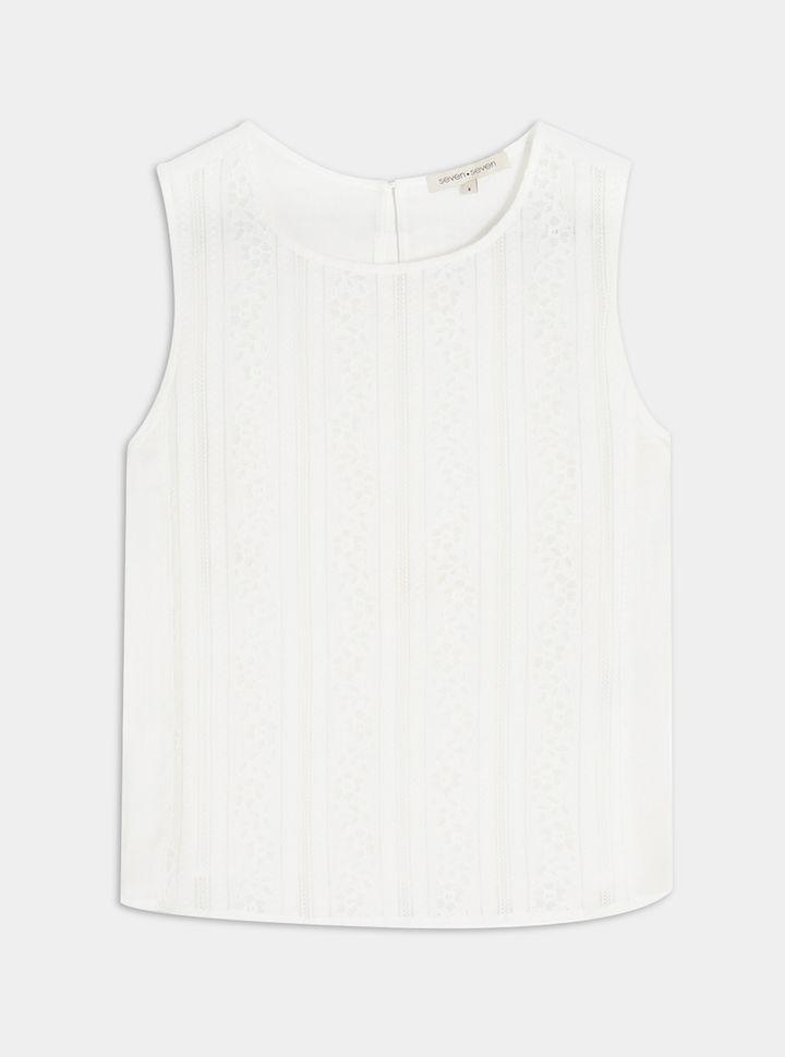 Blusa semi transparente con apliques tejidos-L